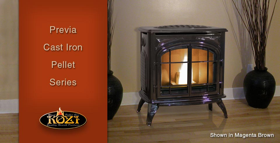 Model KOZI Previa Cast Iron Pellet Stove PRVS-MB