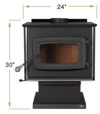 KOZI Wood Stove Front View Specification