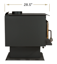 KOZI Wood Stove Side View Specification
