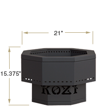 KOZI Portable Fire Pit Front View Specification