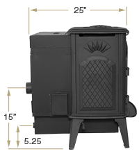 KOZI Previa Cast Iron Side View Specification
